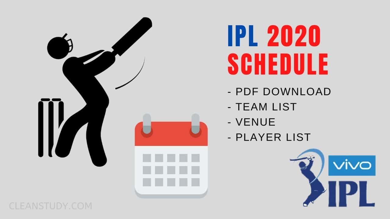 VIVO IPL 2020 SCHEDULE